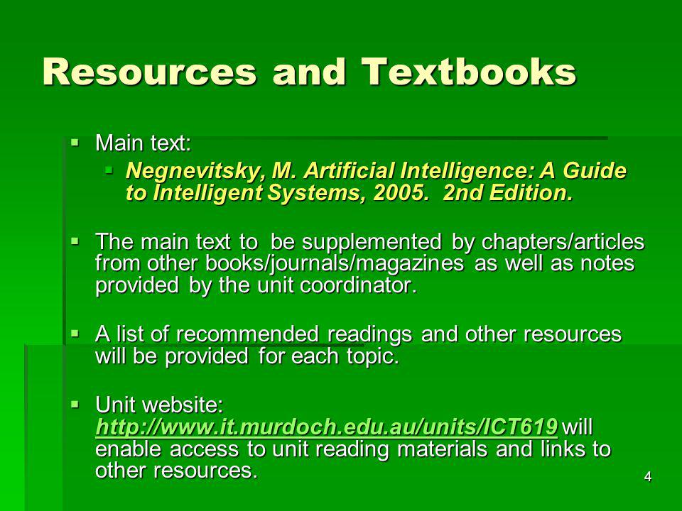 Resources and Textbooks