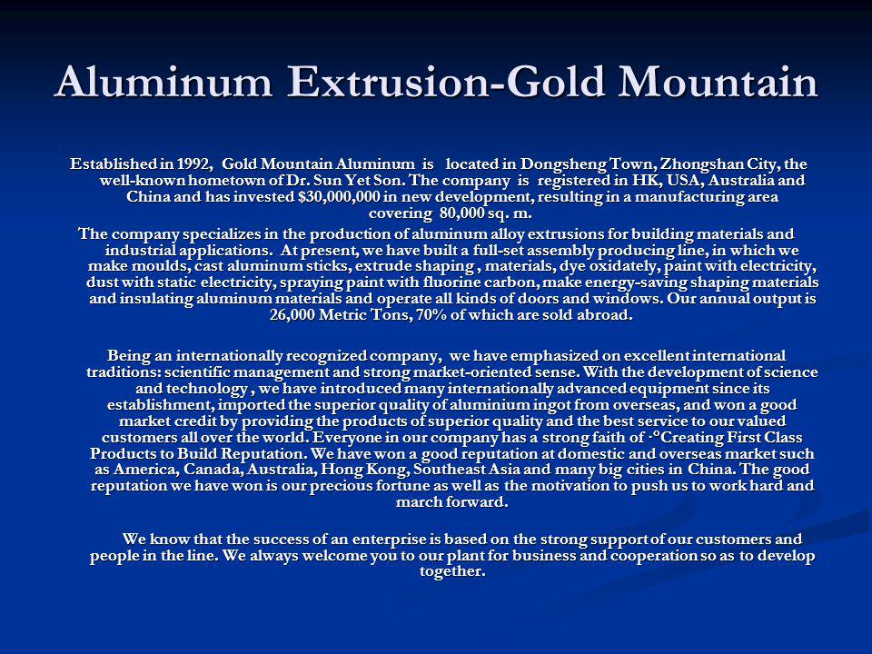 Aluminum Extrusion-Gold Mountain