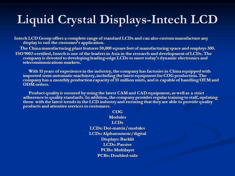 Liquid Crystal Displays-Intech LCD