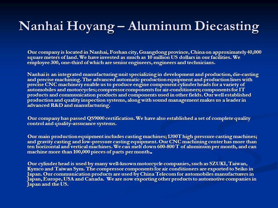 Nanhai Hoyang – Aluminum Diecasting