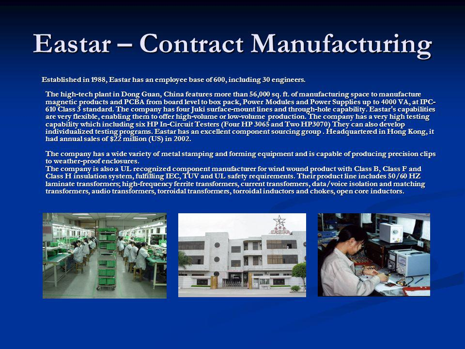 Eastar – Contract Manufacturing