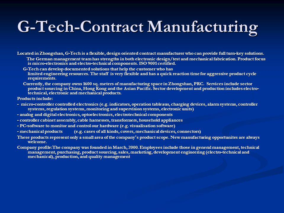 G-Tech-Contract Manufacturing