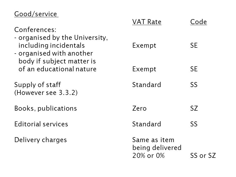 Good/service VAT Rate Code Conferences: