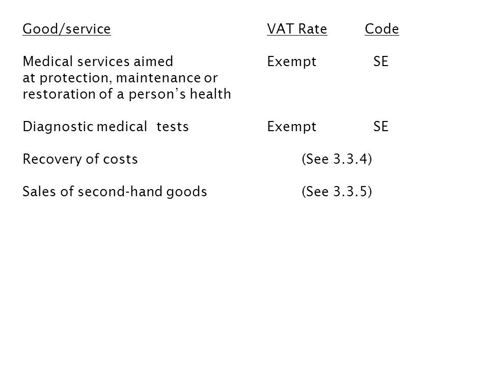Good/service VAT Rate Code