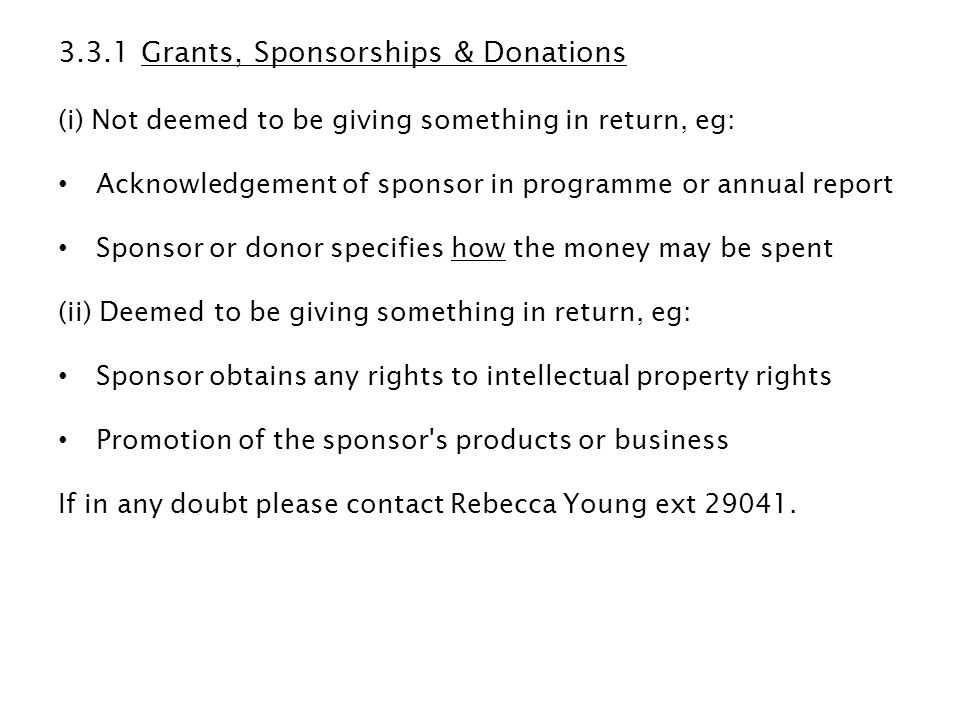 3.3.1 Grants, Sponsorships & Donations