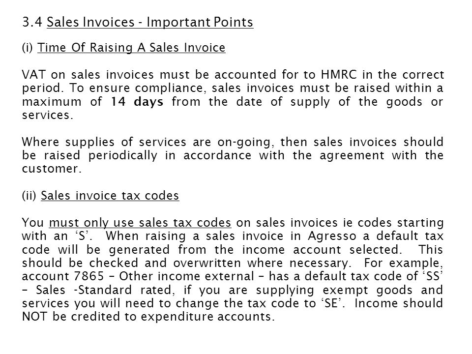3.4 Sales Invoices - Important Points