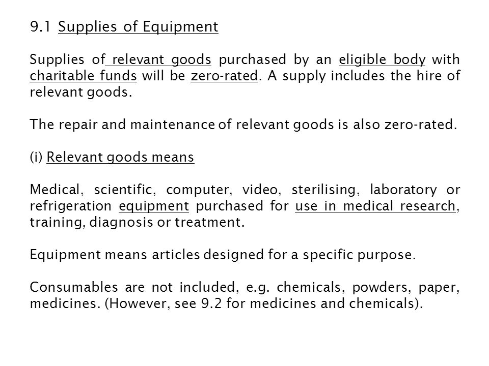 9.1 Supplies of Equipment