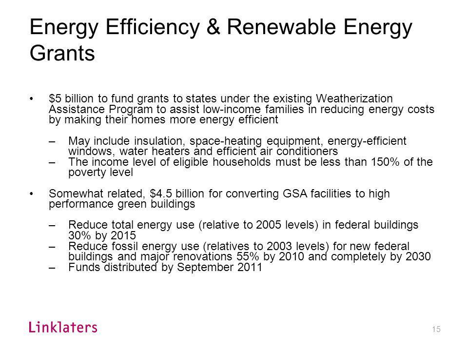 Energy Efficiency & Renewable Energy Grants (cont'd)