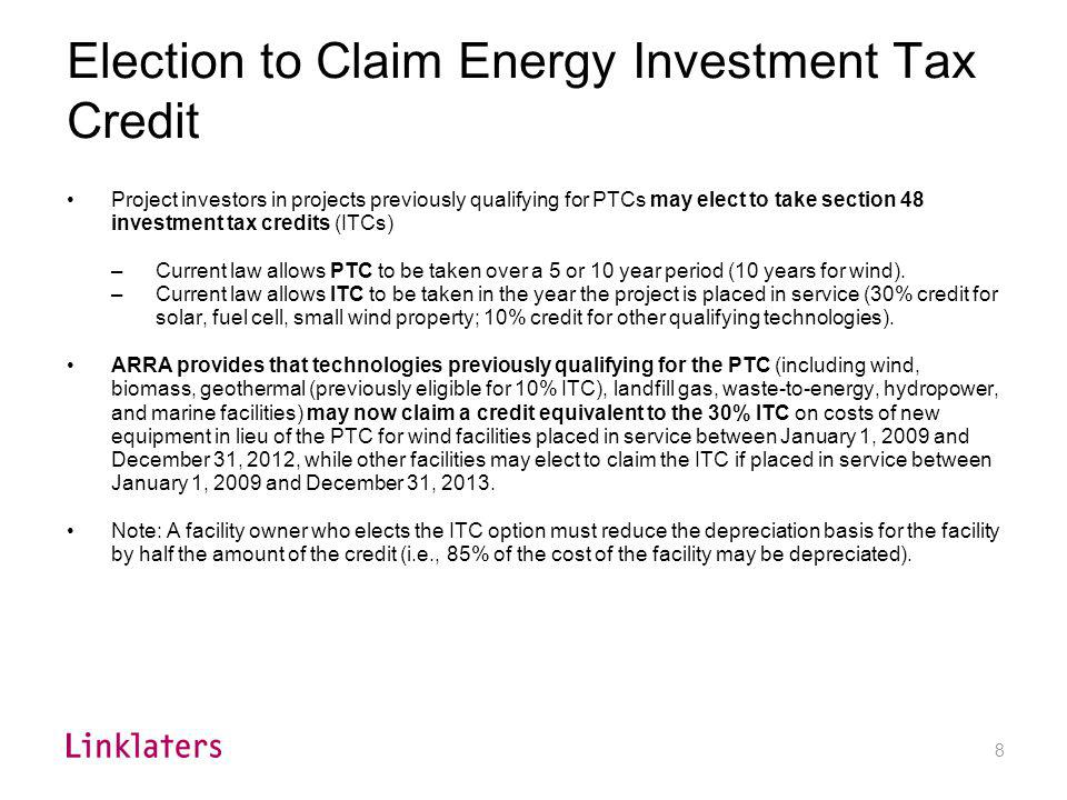 Treasury Grant in Lieu of Tax Credit