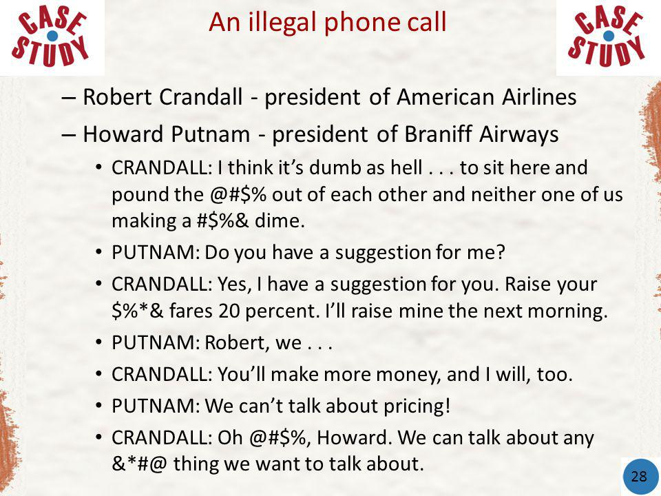 An illegal phone call Robert Crandall - president of American Airlines