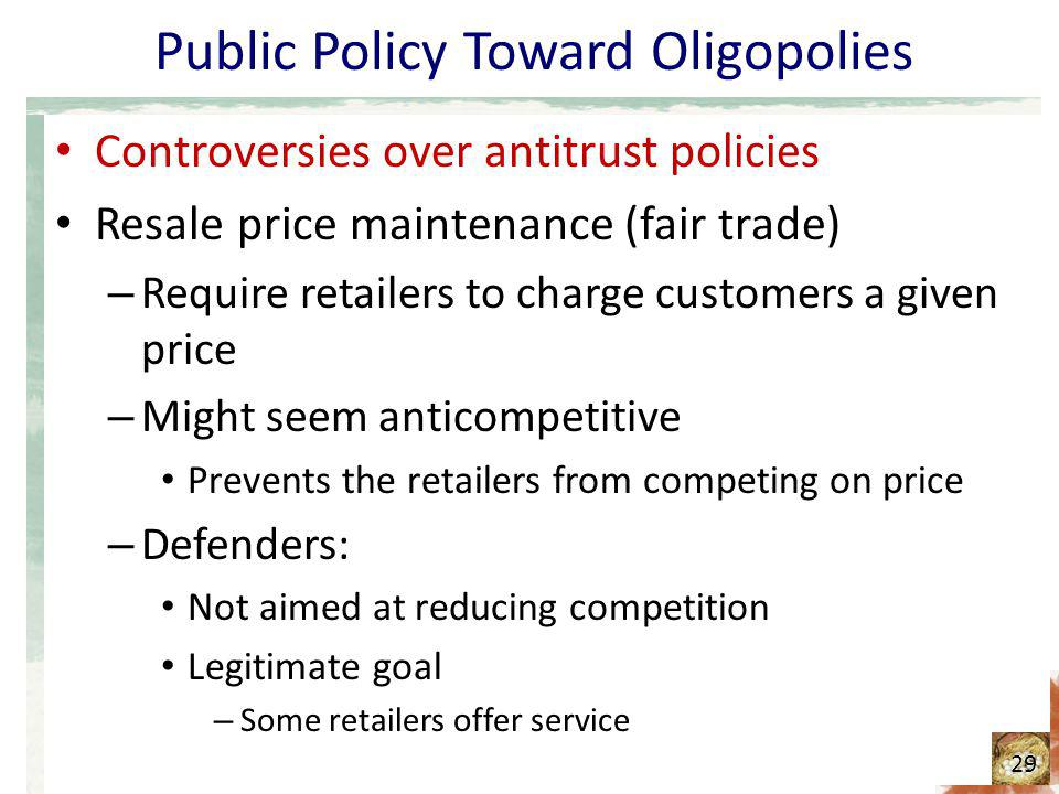 Public Policy Toward Oligopolies