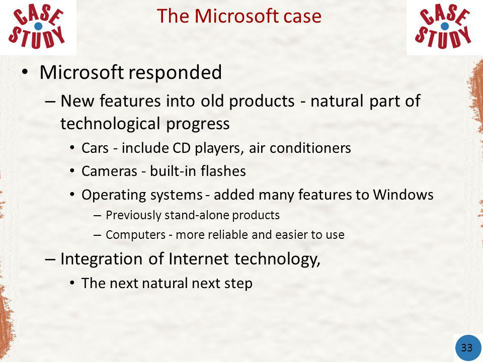 The Microsoft case Microsoft responded