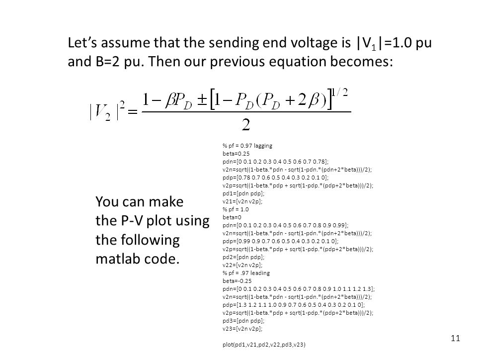 Let's assume that the sending end voltage is |V1|=1.0 pu