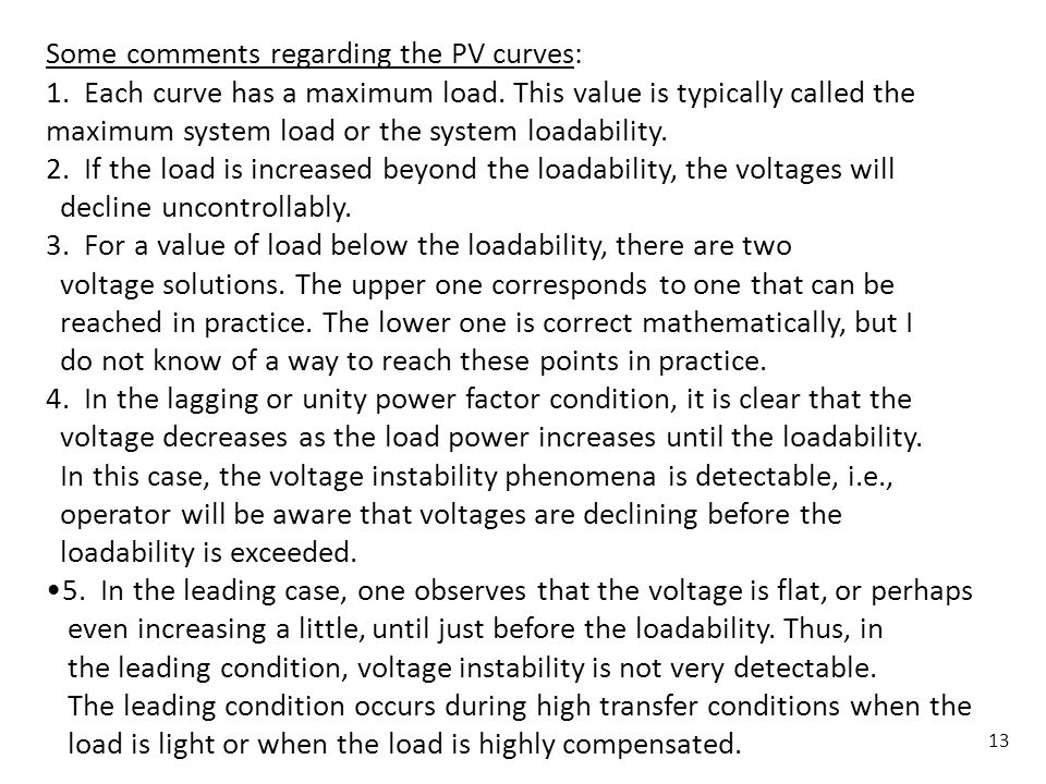 Some comments regarding the PV curves: