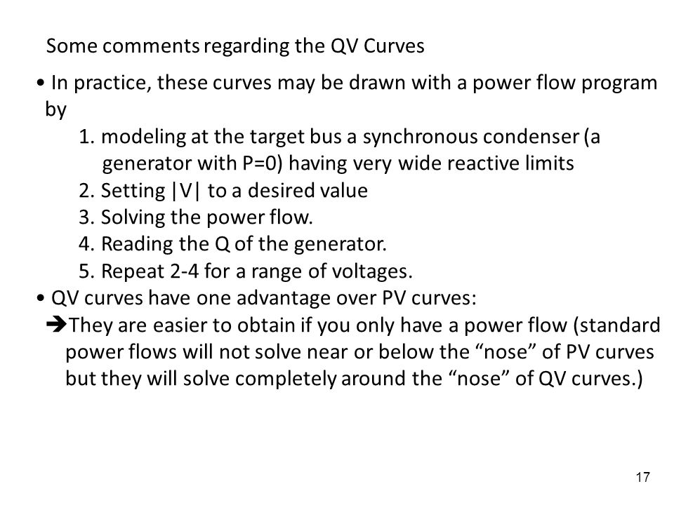 Some comments regarding the QV Curves