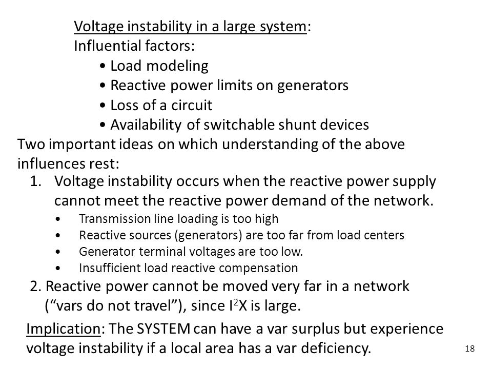 Voltage instability in a large system: Influential factors:
