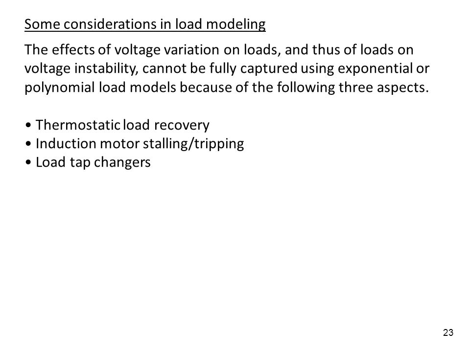 Some considerations in load modeling
