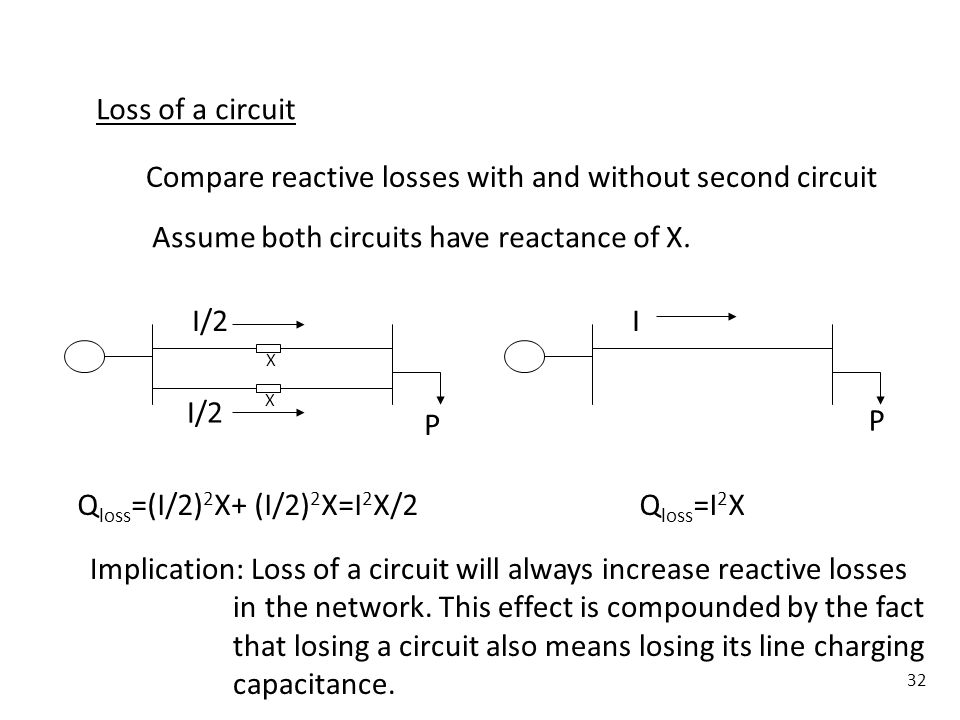 Compare reactive losses with and without second circuit