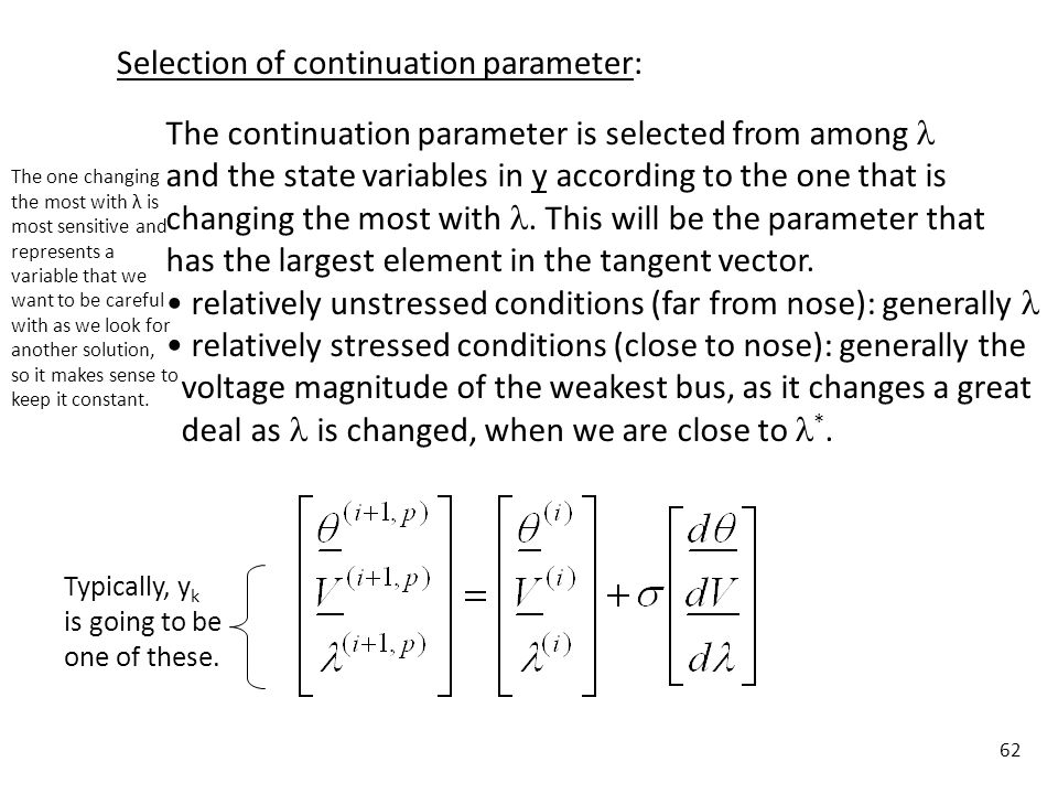 Selection of continuation parameter: