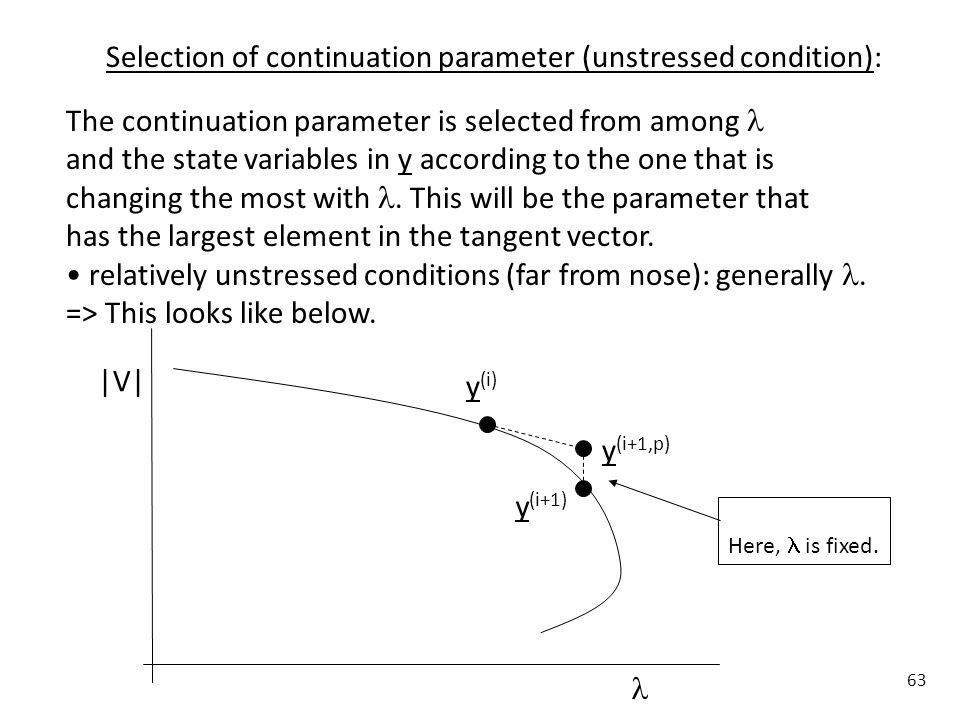 Selection of continuation parameter (unstressed condition):