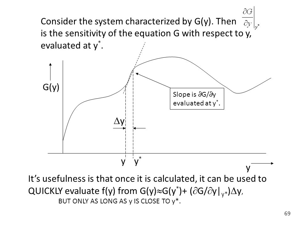 Consider the system characterized by G(y). Then