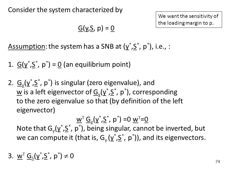 Consider the system characterized by G(y,S, p) = 0