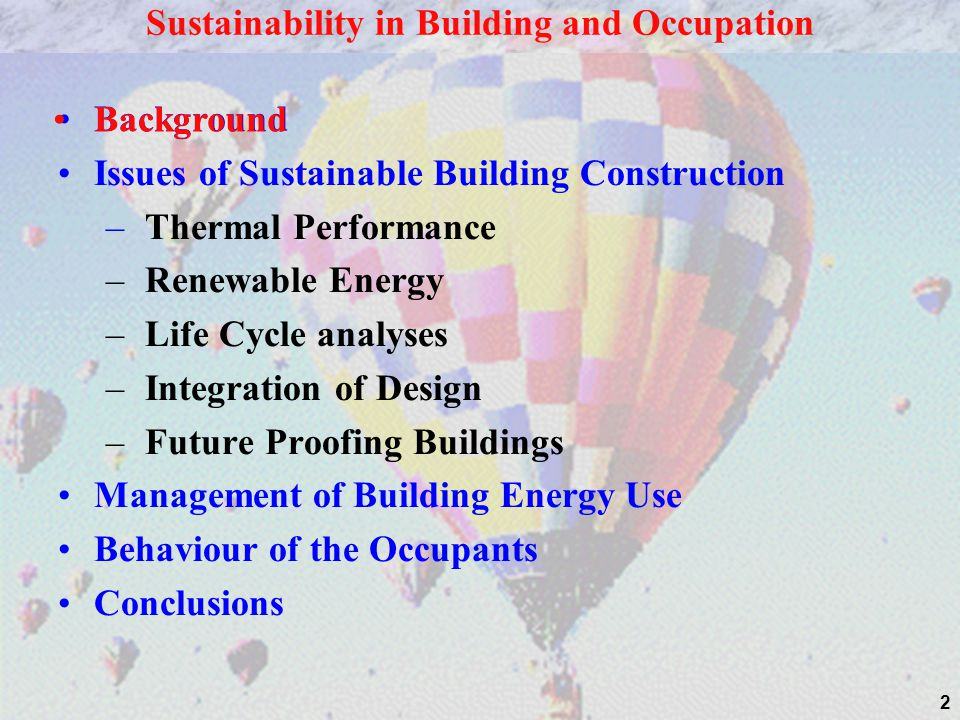 Sustainability in Building and Occupation