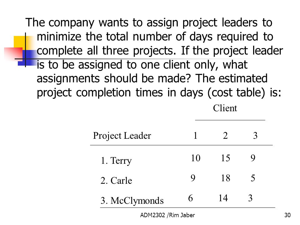 The company wants to assign project leaders to minimize the total number of days required to complete all three projects. If the project leader is to be assigned to one client only, what assignments should be made The estimated project completion times in days (cost table) is: