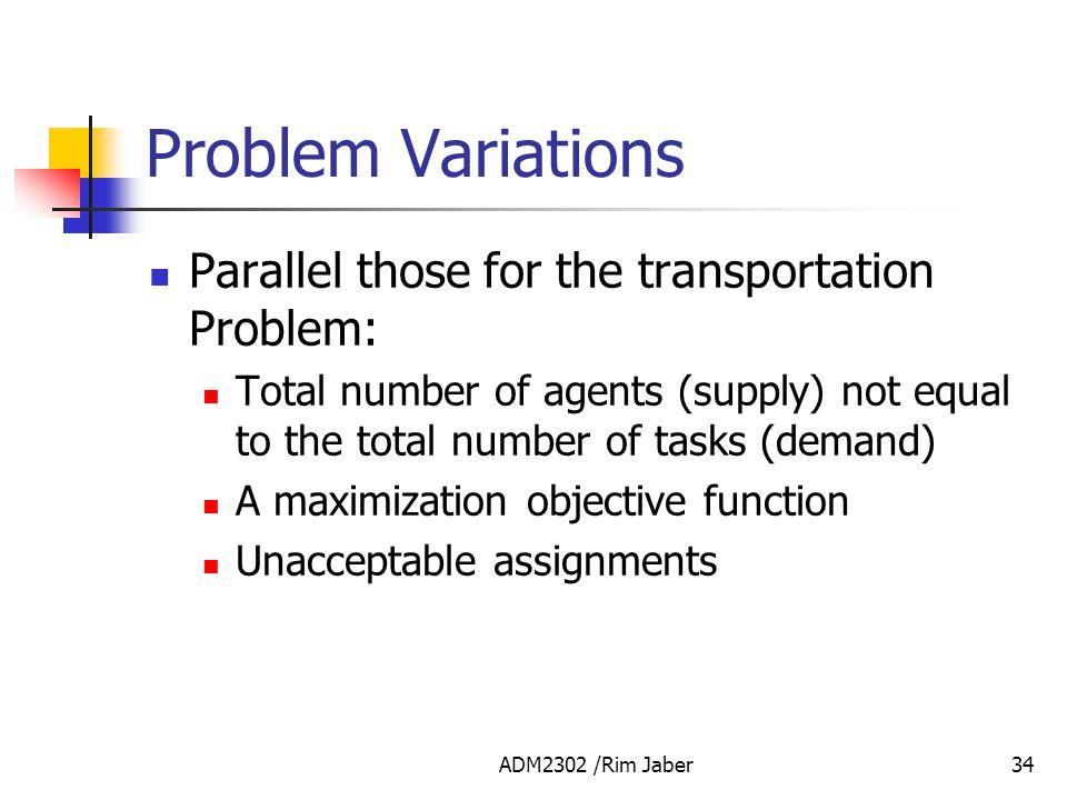 Problem Variations Parallel those for the transportation Problem: