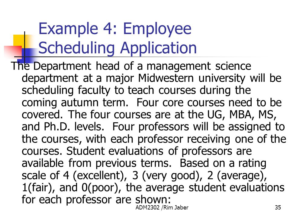 Example 4: Employee Scheduling Application