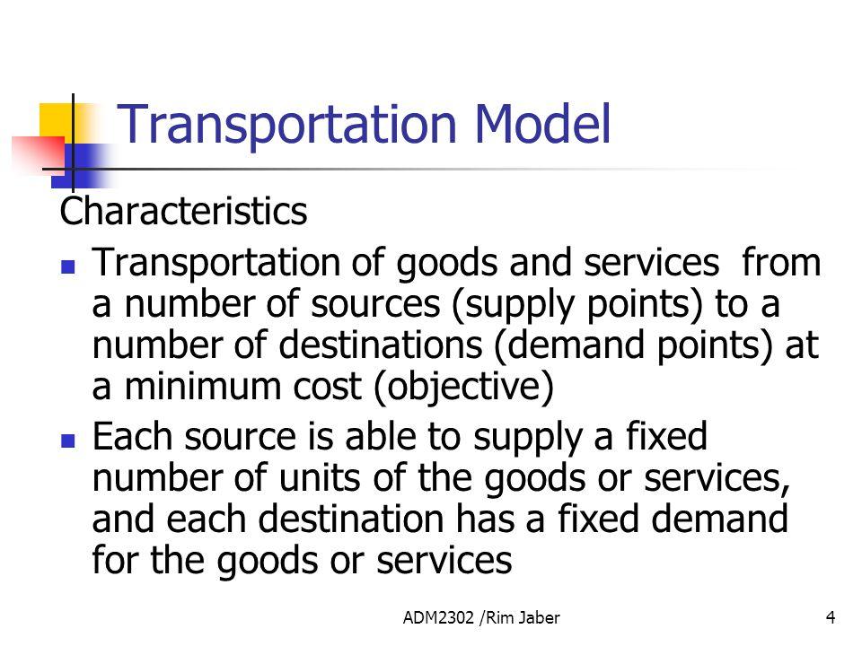 Transportation Model Characteristics