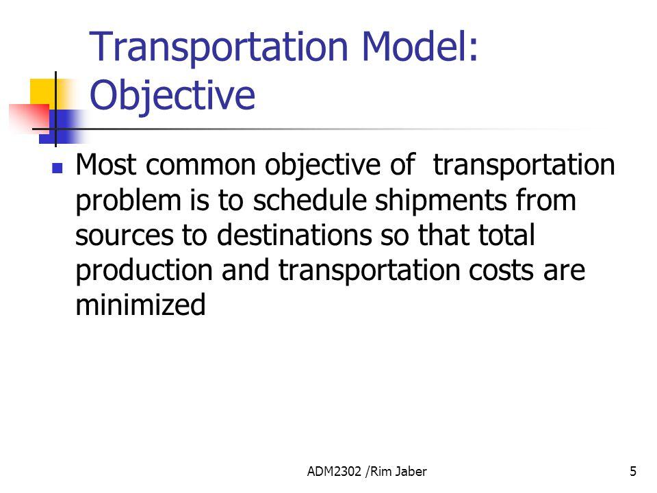 Transportation Model: Objective