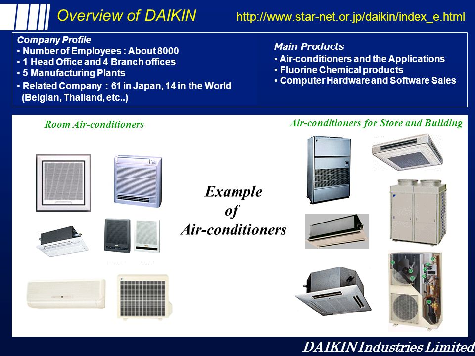 Overview of DAIKIN http://www.star-net.or.jp/daikin/index_e.html