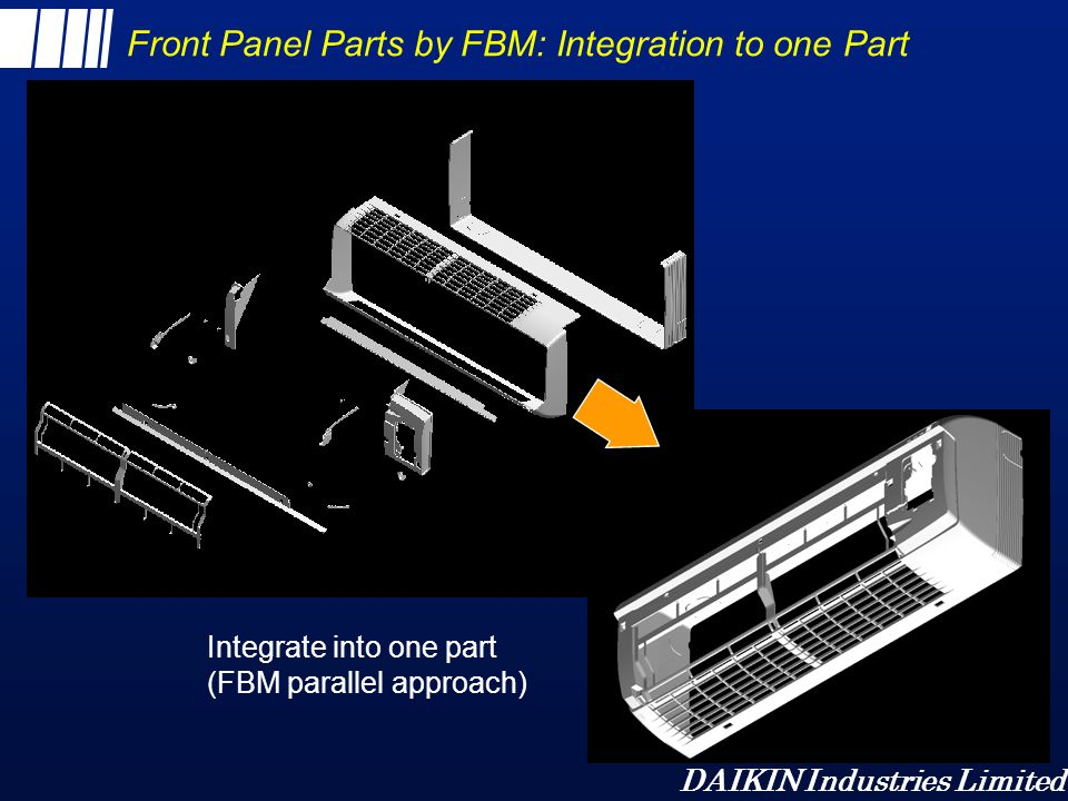Front Panel Parts by FBM: Integration to one Part