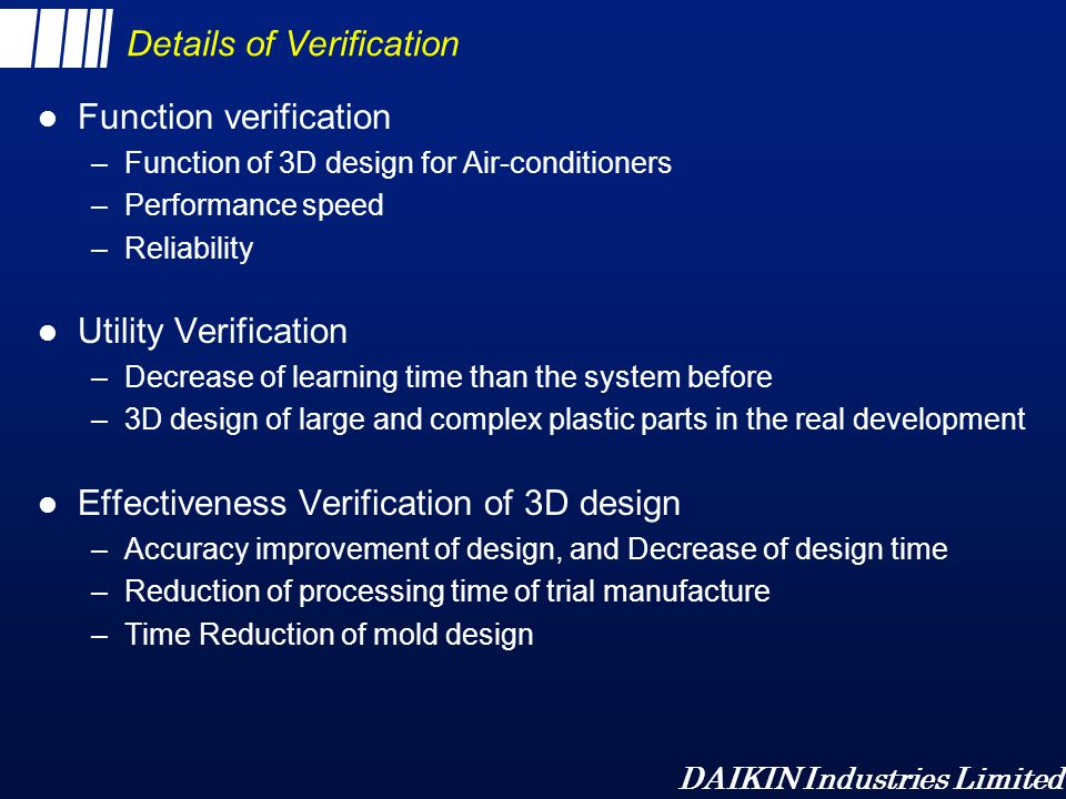 Details of Verification