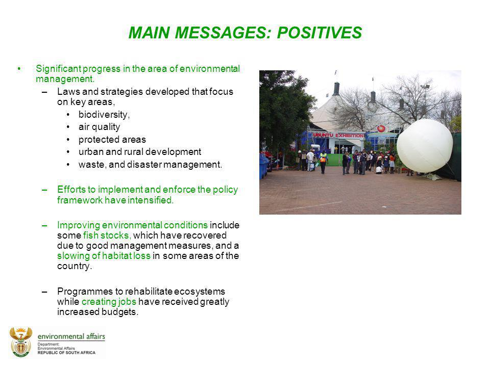 MAIN MESSAGES: POSITIVES
