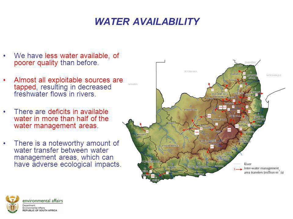 WATER AVAILABILITY We have less water available, of poorer quality than before.