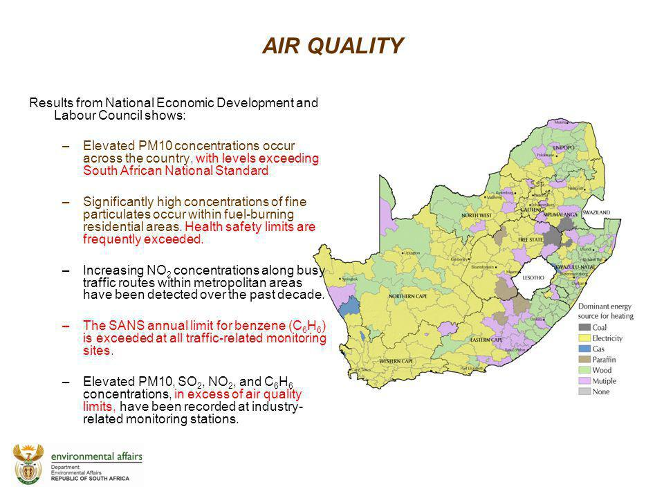 AIR QUALITY Results from National Economic Development and Labour Council shows: