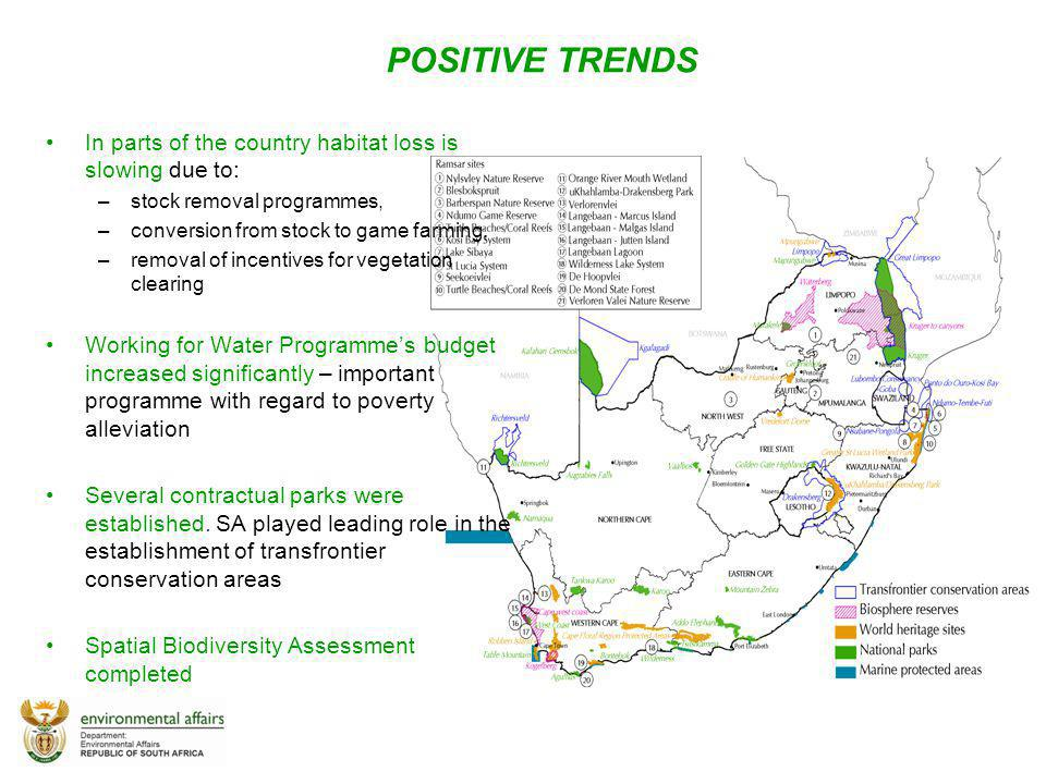 POSITIVE TRENDS In parts of the country habitat loss is slowing due to: stock removal programmes, conversion from stock to game farming,