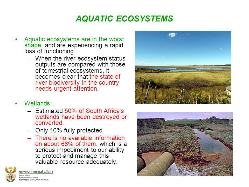 AQUATIC ECOSYSTEMS Aquatic ecosystems are in the worst shape, and are experiencing a rapid loss of functioning.