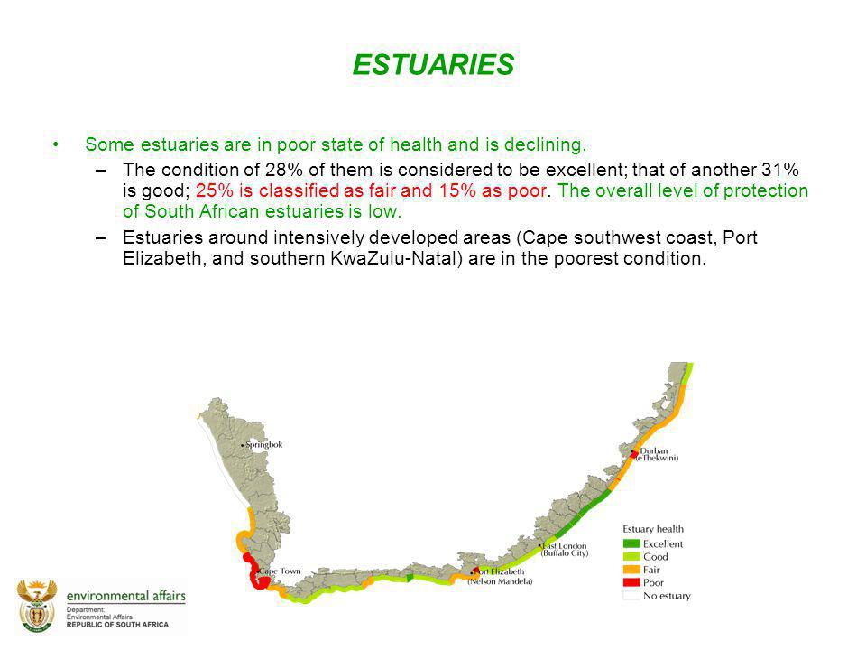 ESTUARIES Some estuaries are in poor state of health and is declining.