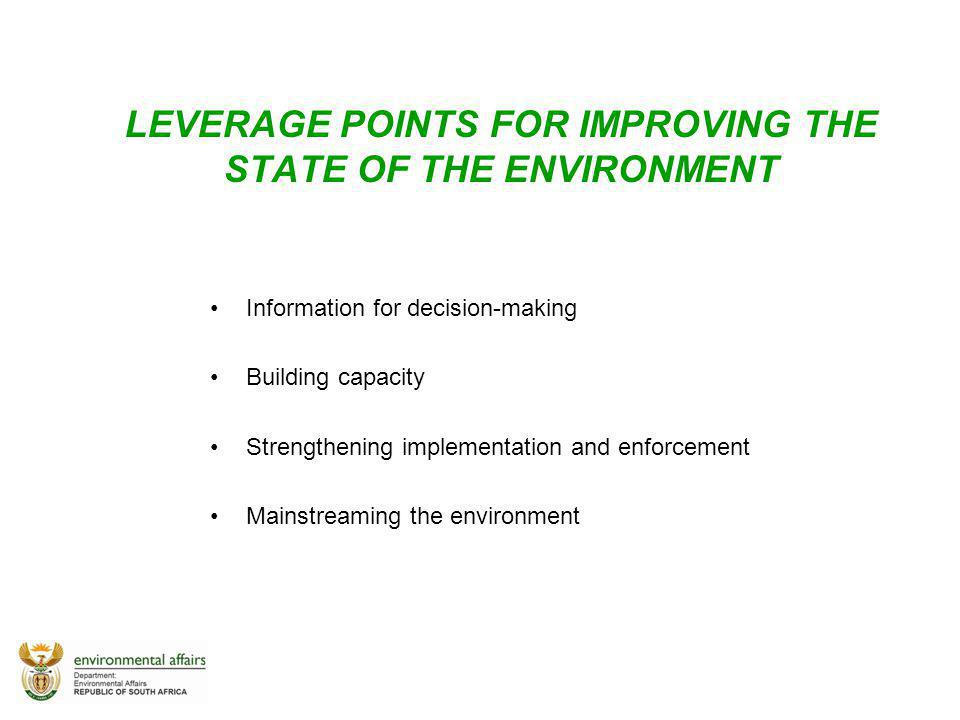 LEVERAGE POINTS FOR IMPROVING THE STATE OF THE ENVIRONMENT