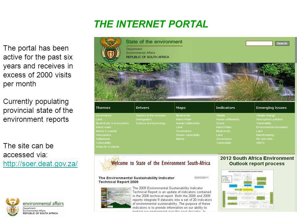 THE INTERNET PORTAL The portal has been active for the past six years and receives in excess of 2000 visits per month.