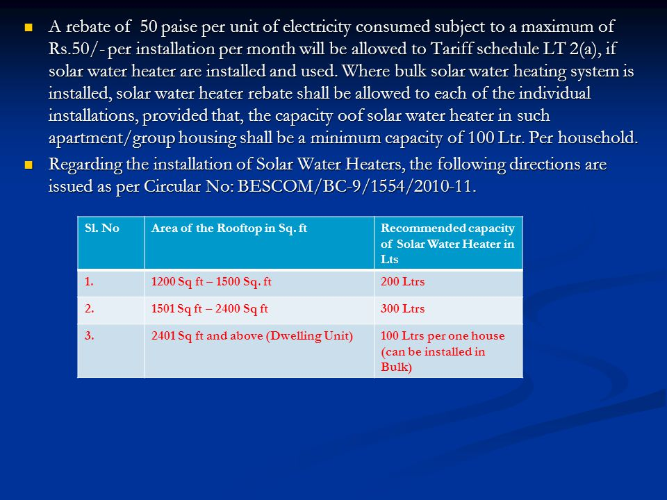 A rebate of 50 paise per unit of electricity consumed subject to a maximum of Rs.50/- per installation per month will be allowed to Tariff schedule LT 2(a), if solar water heater are installed and used. Where bulk solar water heating system is installed, solar water heater rebate shall be allowed to each of the individual installations, provided that, the capacity oof solar water heater in such apartment/group housing shall be a minimum capacity of 100 Ltr. Per household.