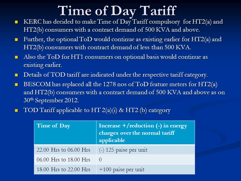 Time of Day Tariff
