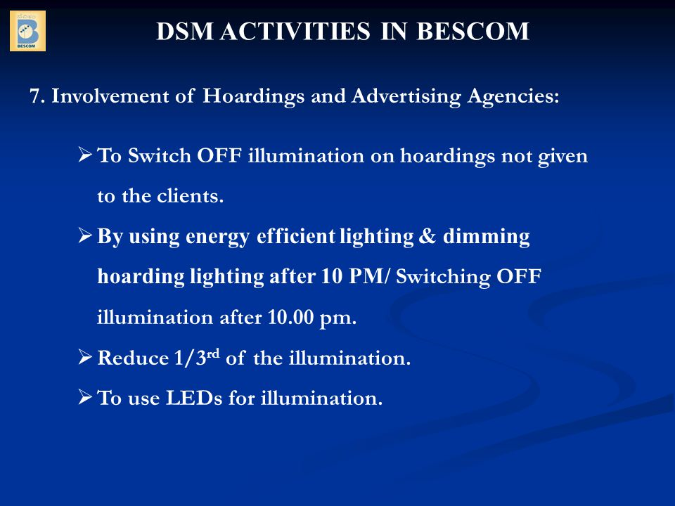 DSM ACTIVITIES IN BESCOM