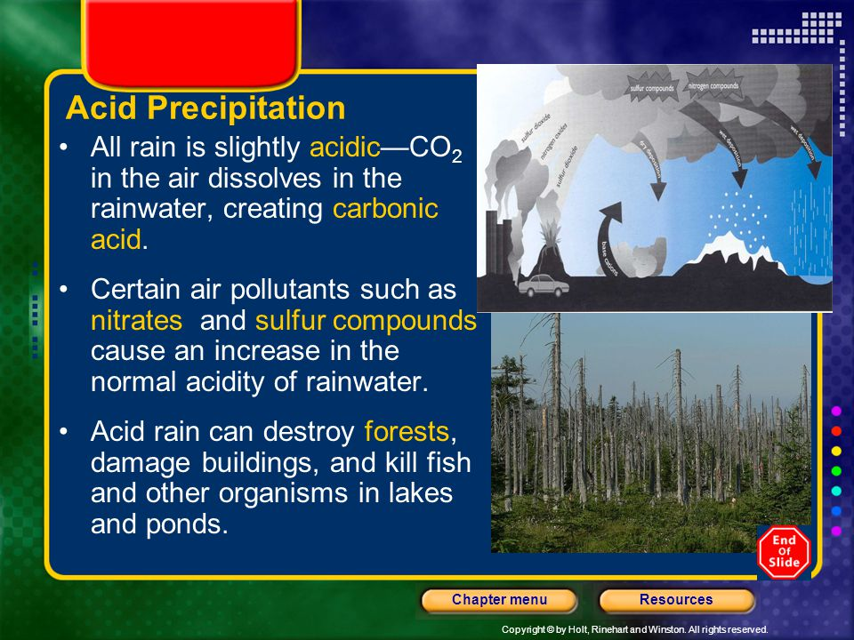 Acid Precipitation All rain is slightly acidic—CO2 in the air dissolves in the rainwater, creating carbonic acid.