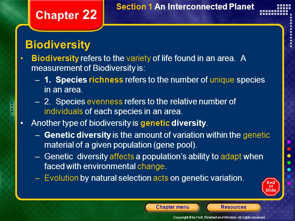 Chapter 22 Biodiversity Section 1 An Interconnected Planet