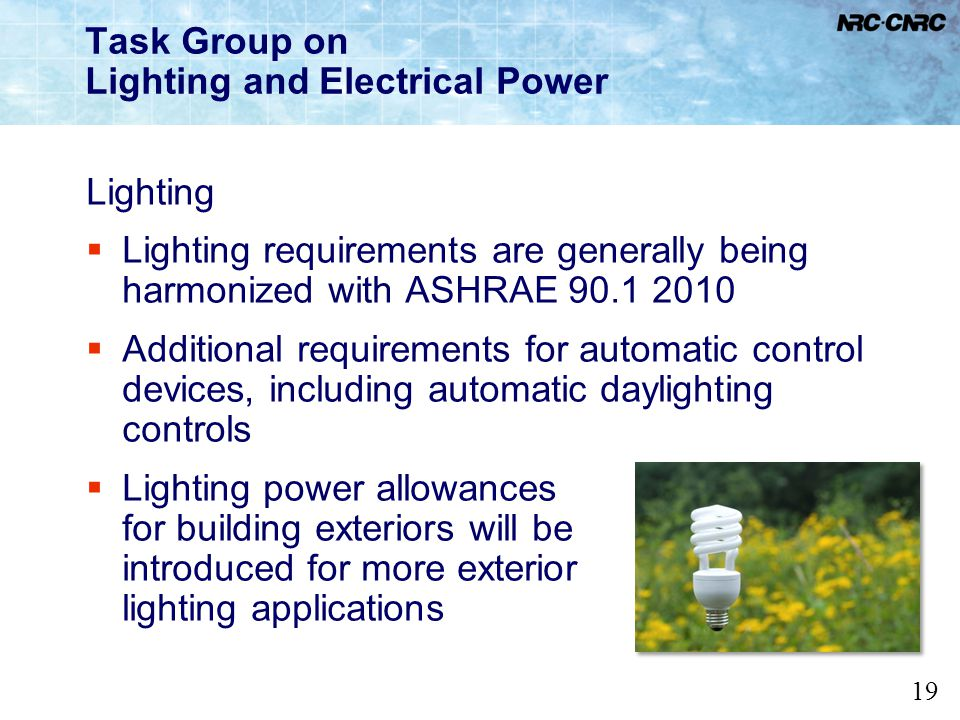Task Group on Lighting and Electrical Power