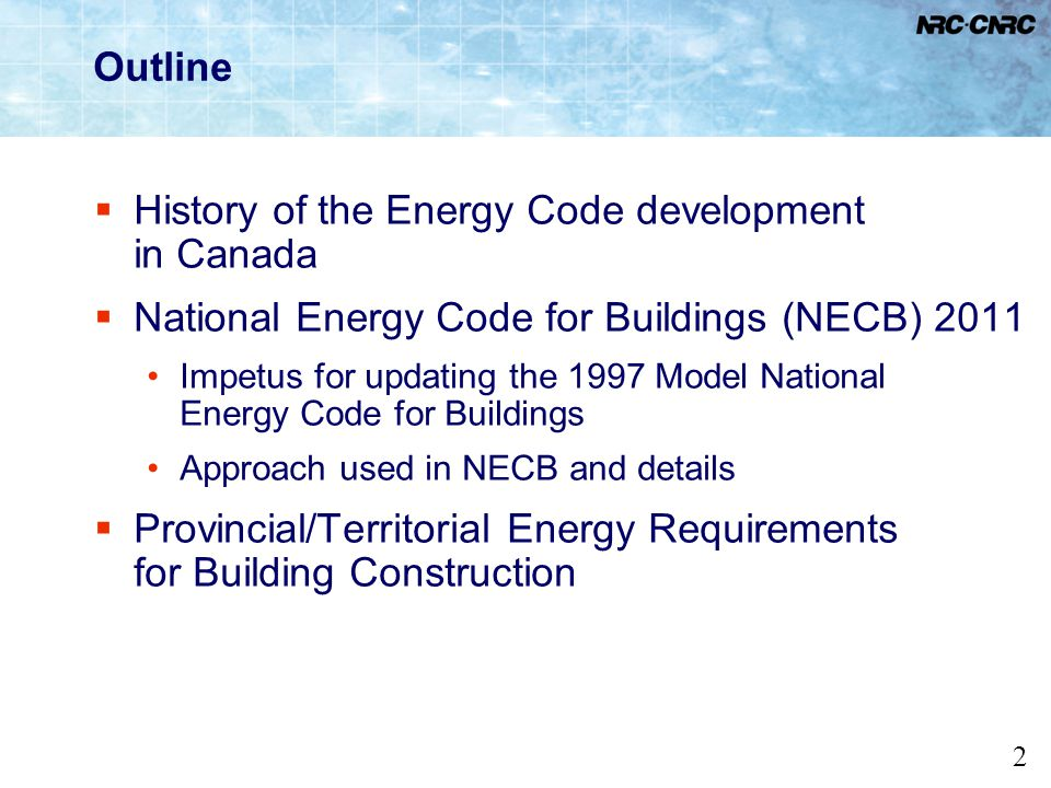 History of the Energy Code development in Canada